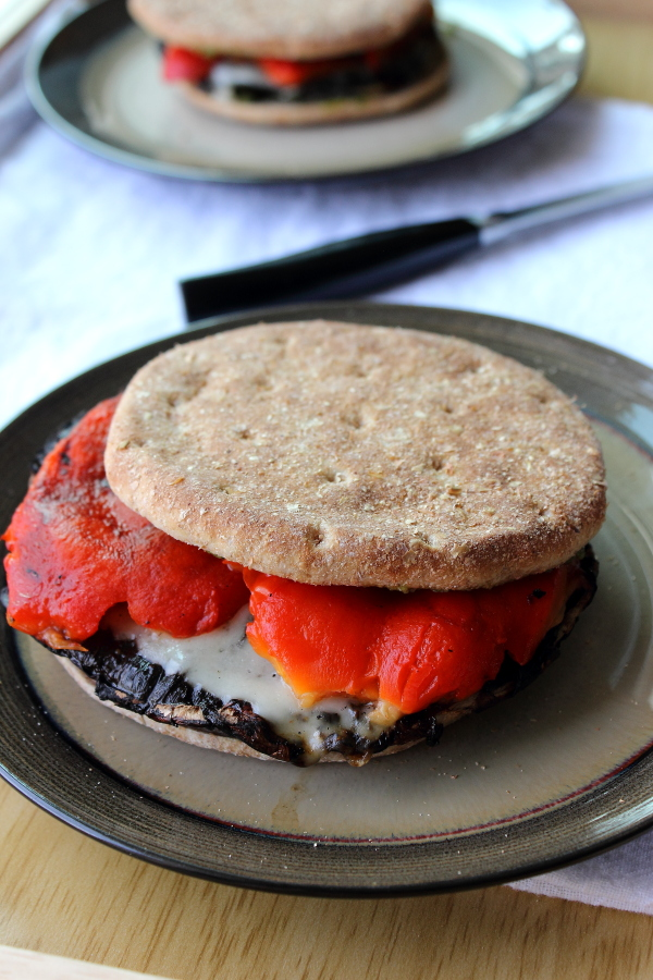 Portabella Mushroom Burgers with Roasted Red Peppers