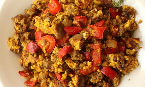 Red Pepper and Turkey Sausage Scramble